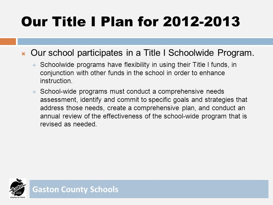 Our Title I Plan for 2012-2013 Our school participates in a Title I Schoolwide Program.