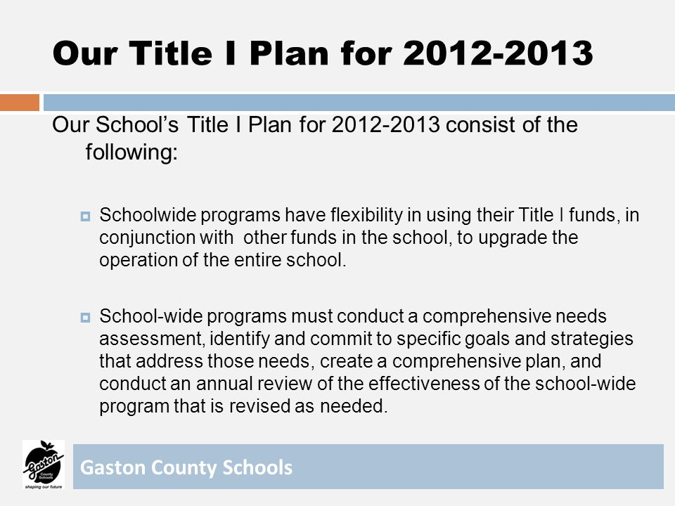 Our Title I Plan for 2012-2013 Our School's Title I Plan for 2012-2013 consist of the following: