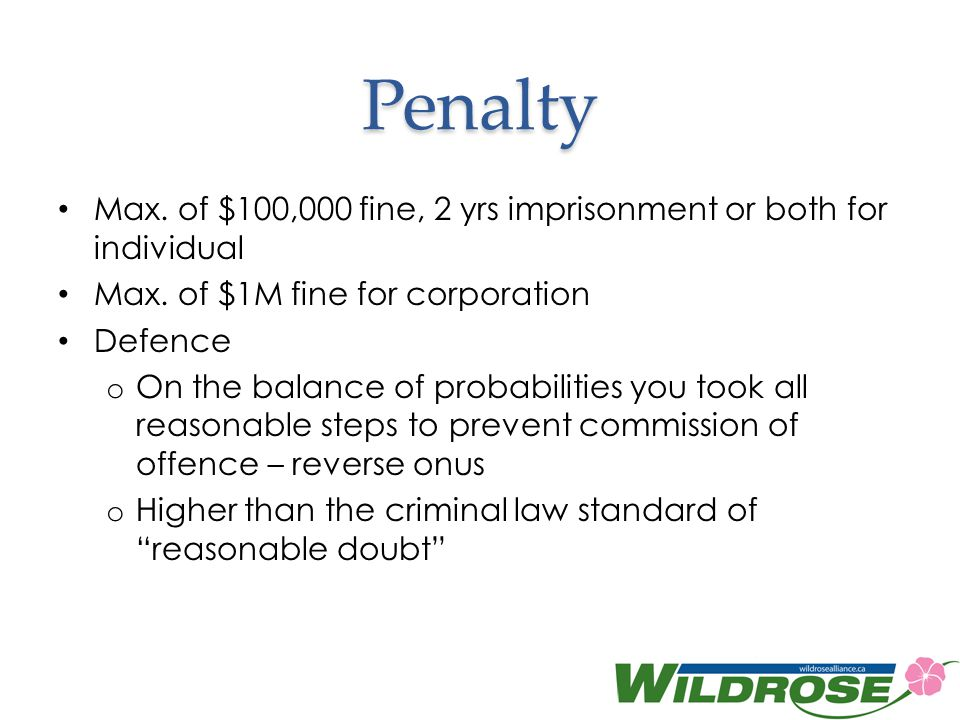 Penalty Max. of $100,000 fine, 2 yrs imprisonment or both for individual. Max. of $1M fine for corporation.
