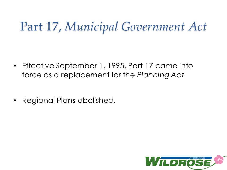 Part 17, Municipal Government Act