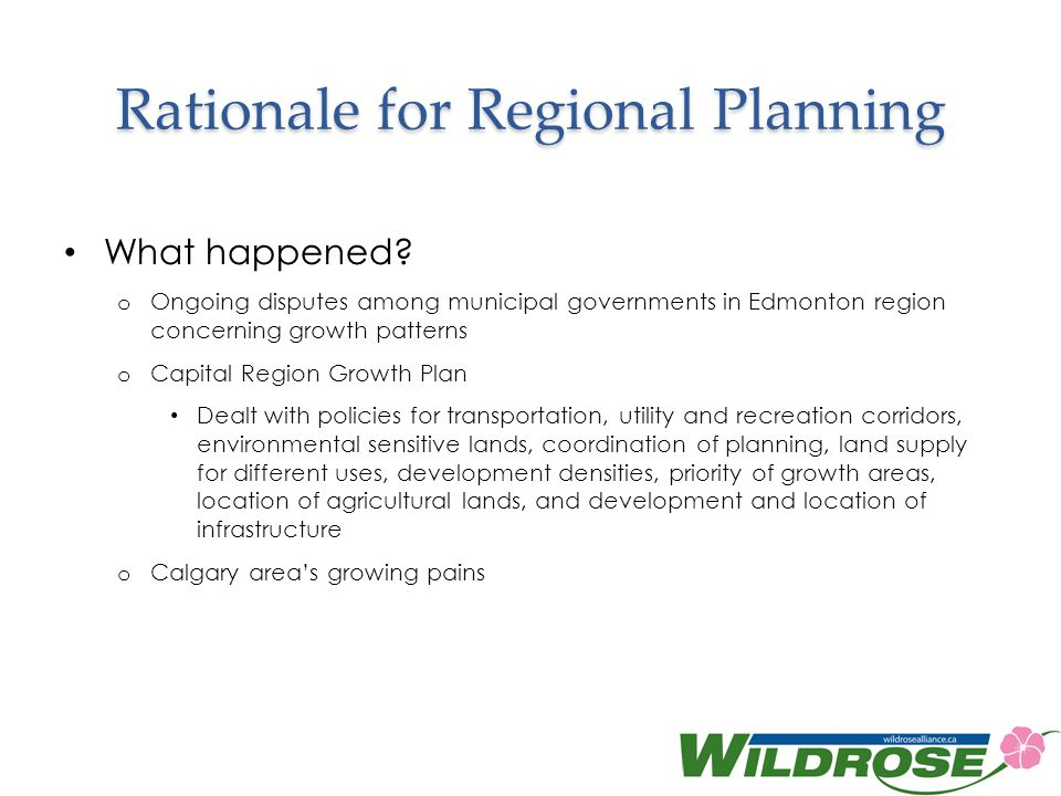 Rationale for Regional Planning