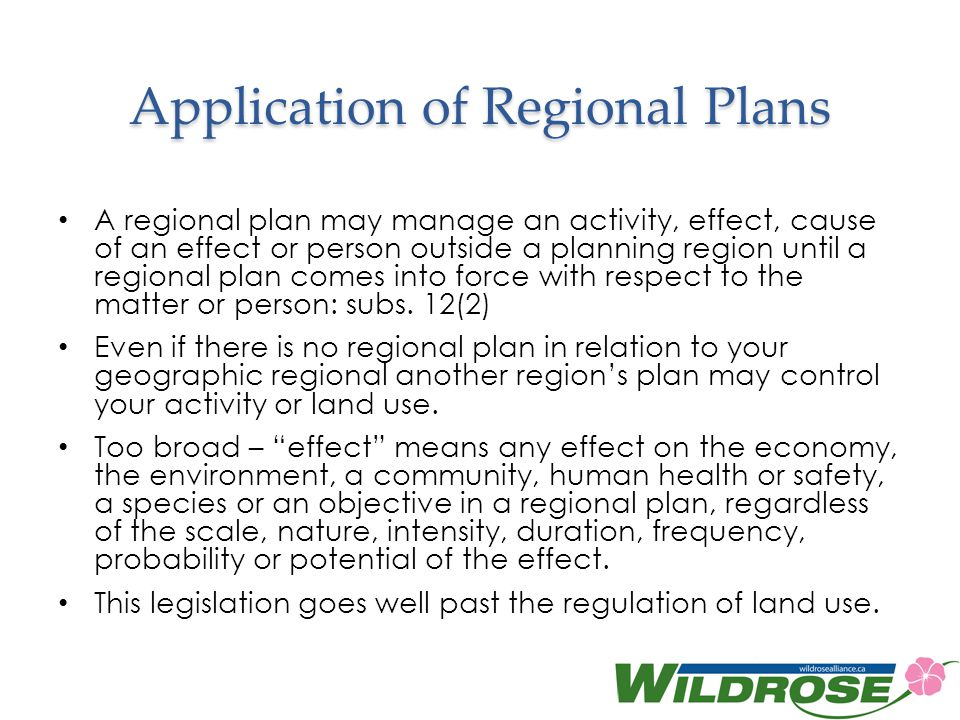 Application of Regional Plans