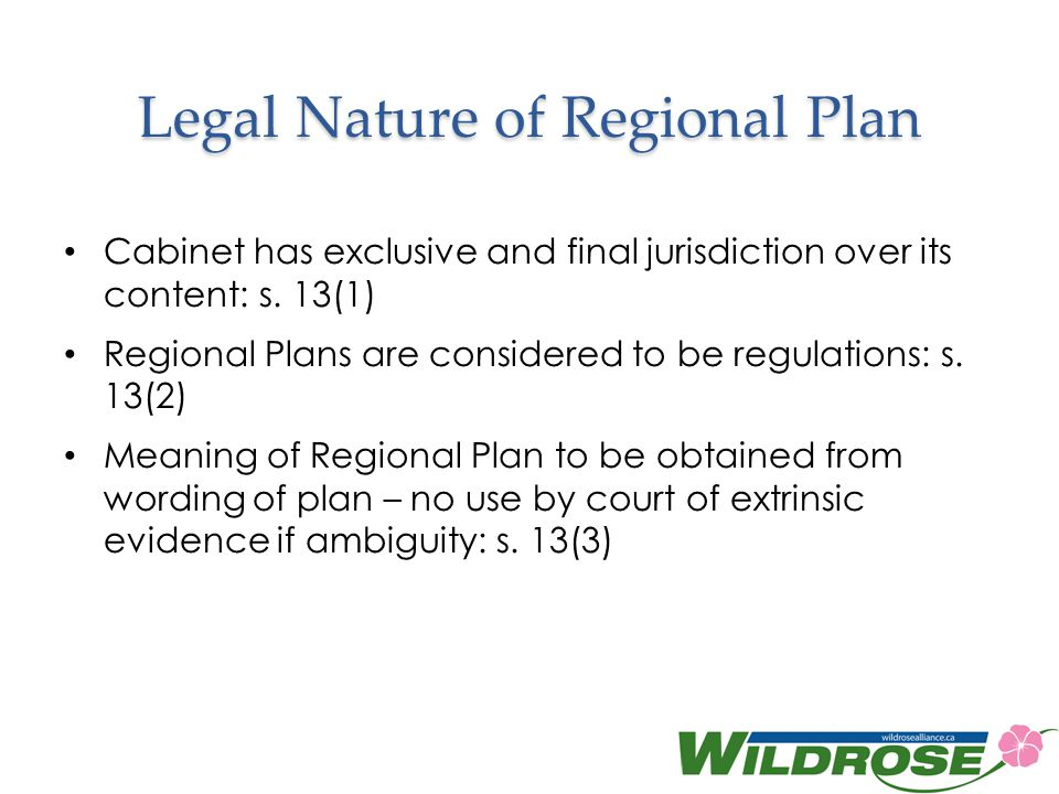 Legal Nature of Regional Plan