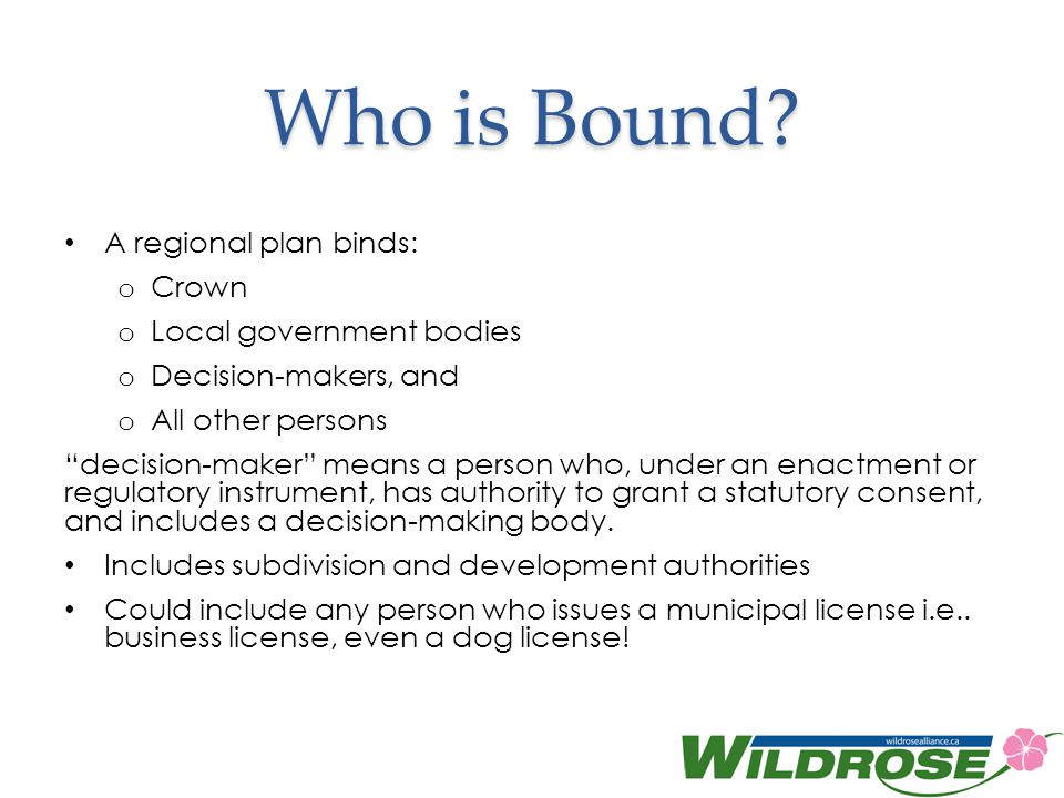 Who is Bound A regional plan binds: Crown Local government bodies