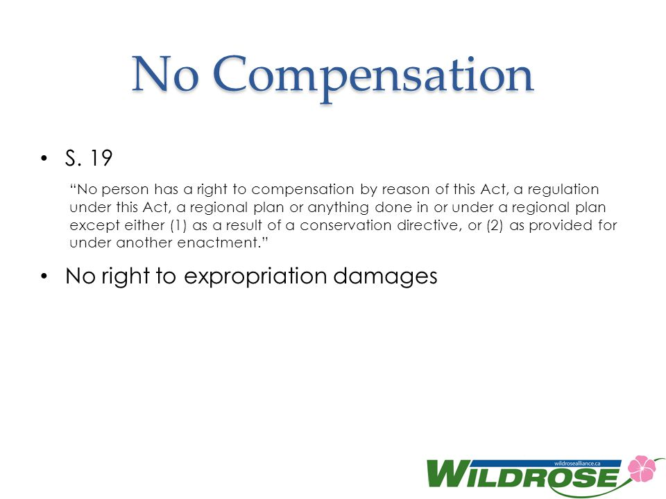 No Compensation S. 19 No right to expropriation damages