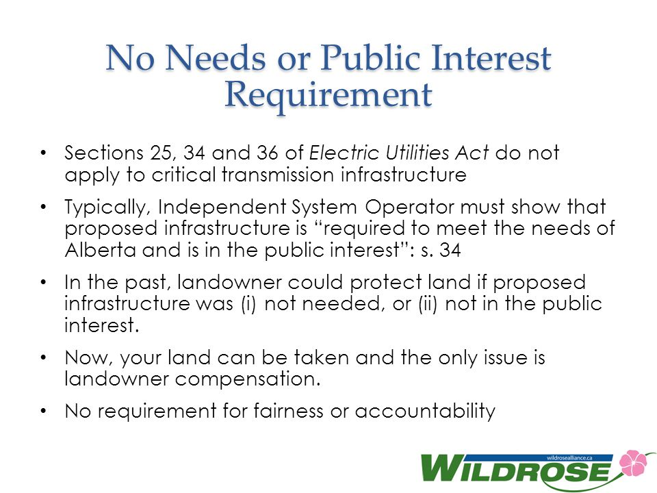 No Needs or Public Interest Requirement
