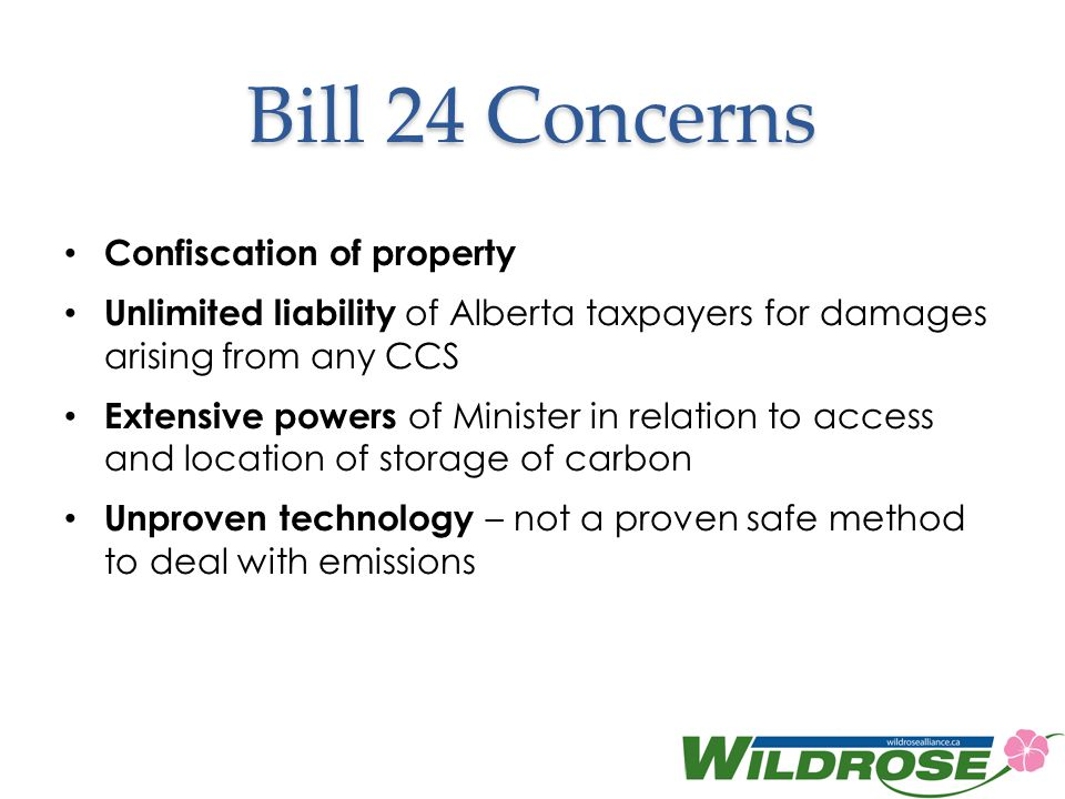Bill 24 Concerns Confiscation of property