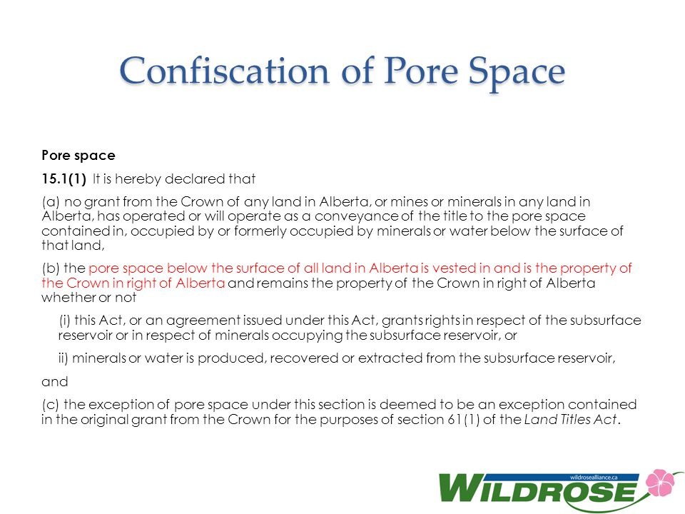 Confiscation of Pore Space