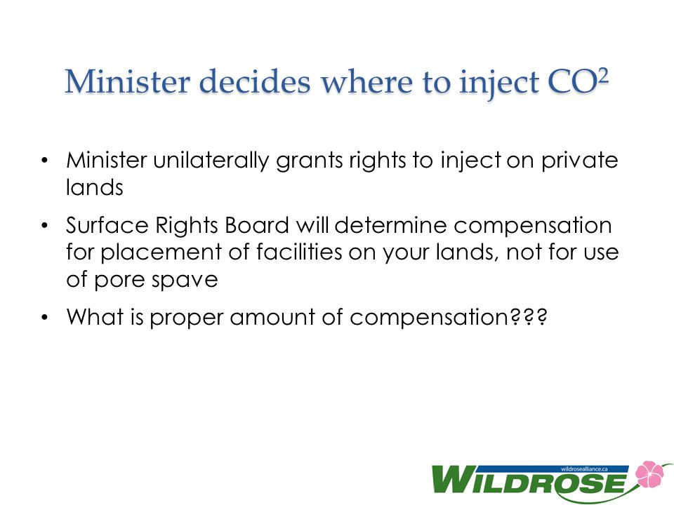 Minister decides where to inject CO2