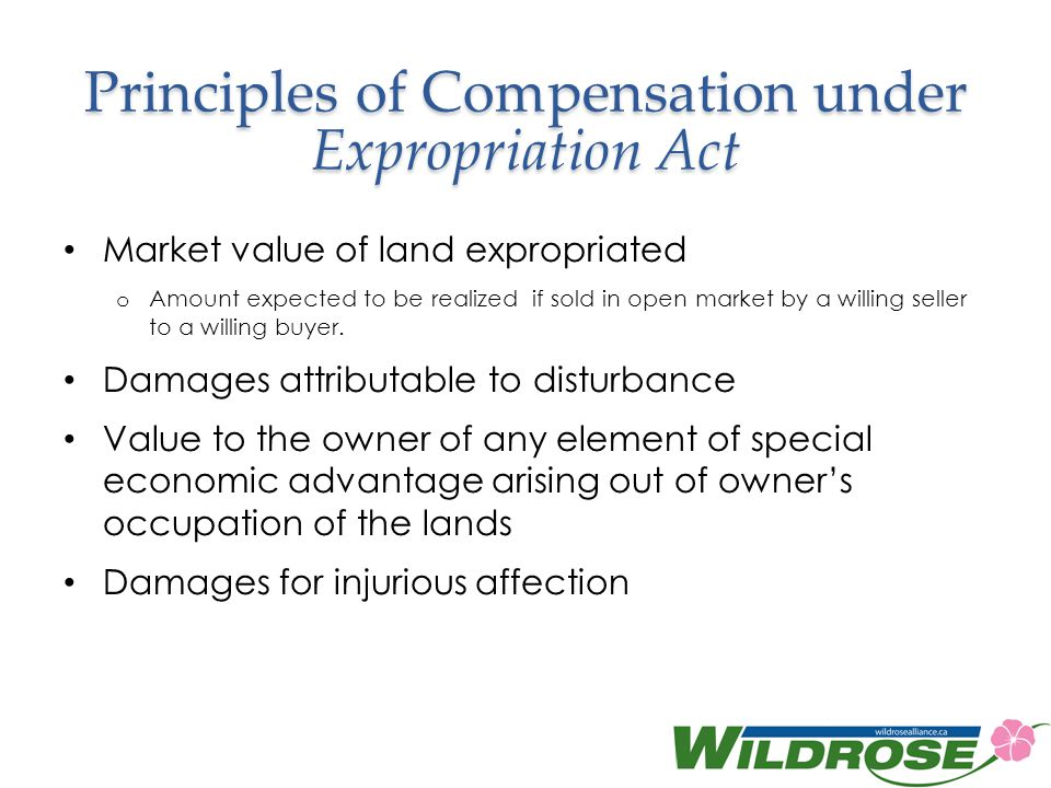 Principles of Compensation under Expropriation Act