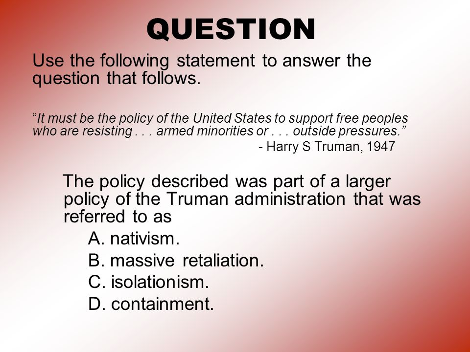 QUESTION Use the following statement to answer the question that follows.