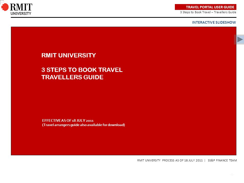RMIT UNIVERSITY 3 STEPS TO BOOK TRAVEL TRAVELLERS GUIDE