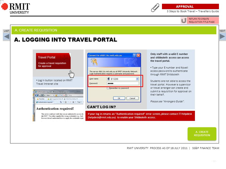 A. LOGGING INTO TRAVEL PORTAL