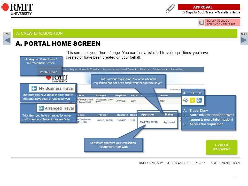 A. PORTAL HOME SCREEN Plan, Approval, Book - 3 Steps to Book Travel