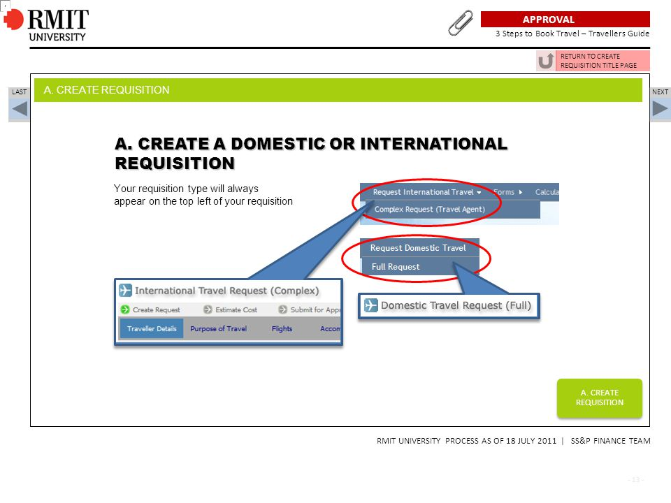A. CREATE A DOMESTIC OR INTERNATIONAL REQUISITION