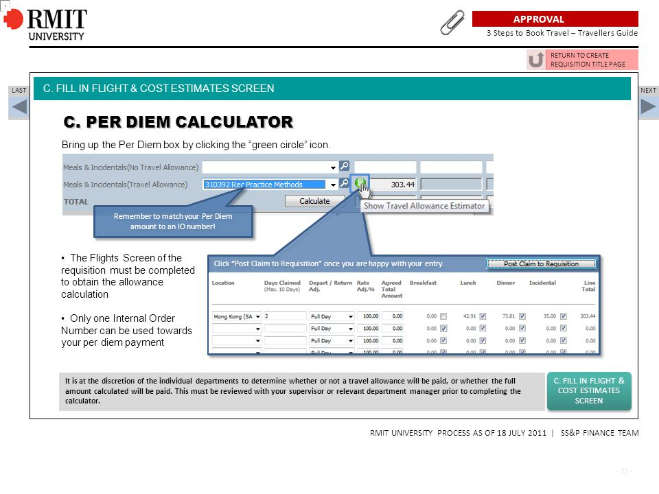 C. PER DIEM CALCULATOR Plan, Approval, Book - 3 Steps to Book Travel