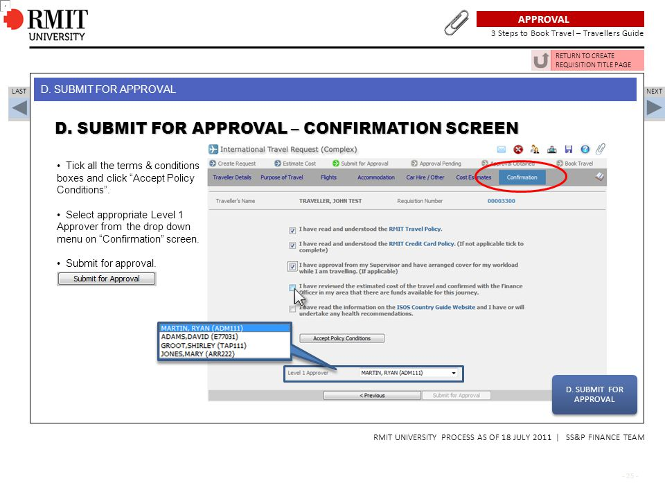 D. SUBMIT FOR APPROVAL – CONFIRMATION SCREEN