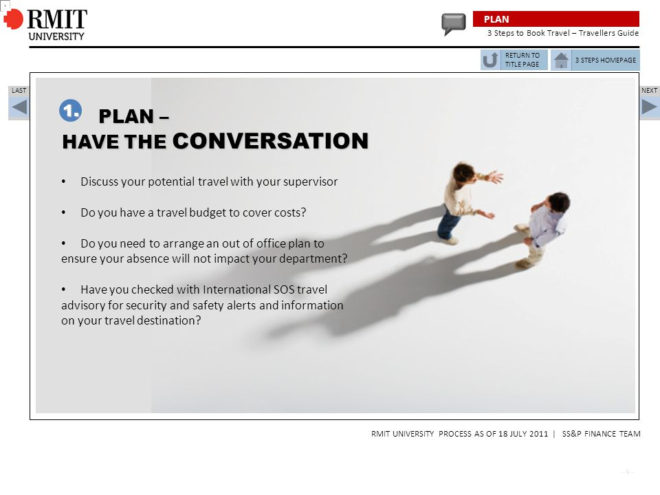 PLAN – HAVE THE CONVERSATION