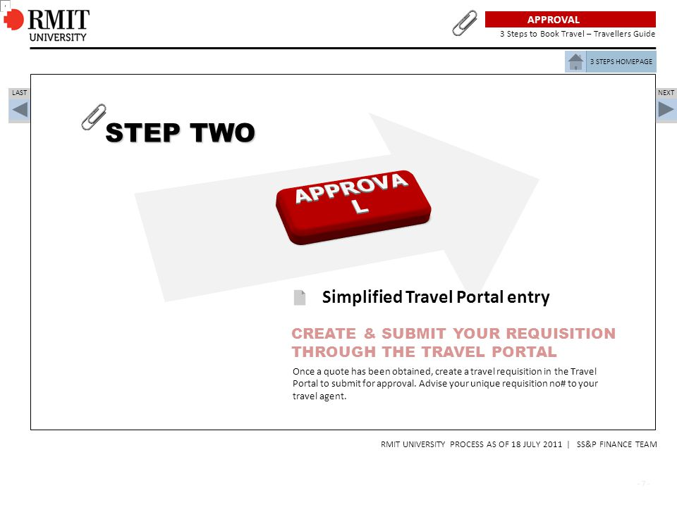 STEP TWO APPROVAL Simplified Travel Portal entry