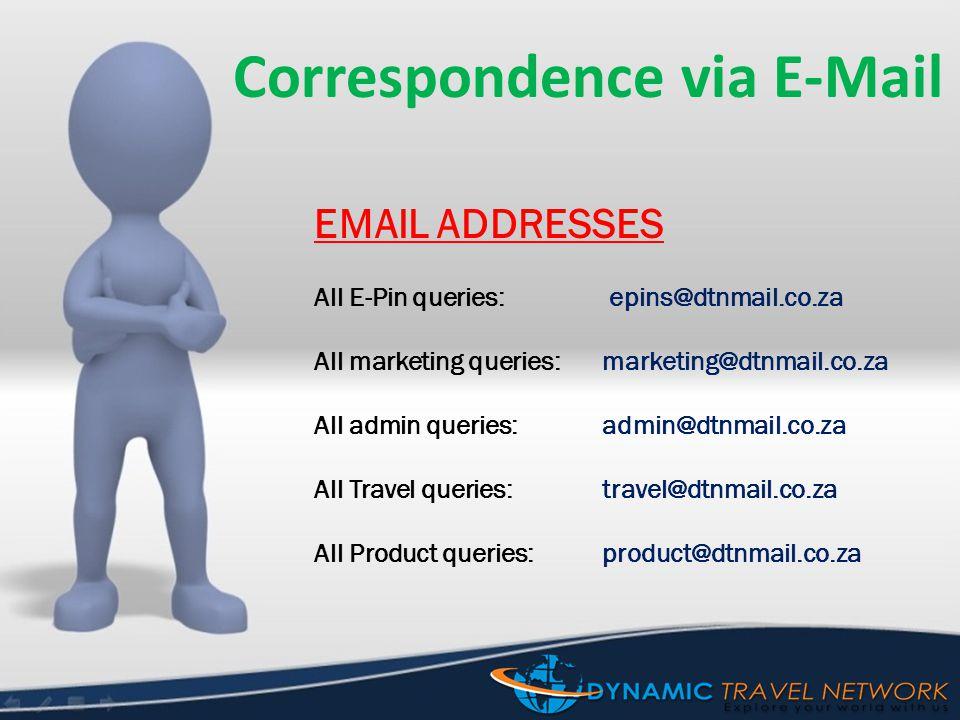 Correspondence via E-Mail