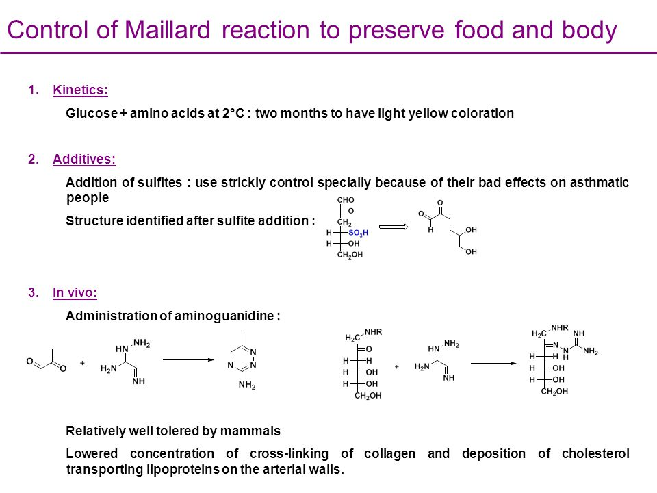 Control of Maillard reaction to preserve food and body