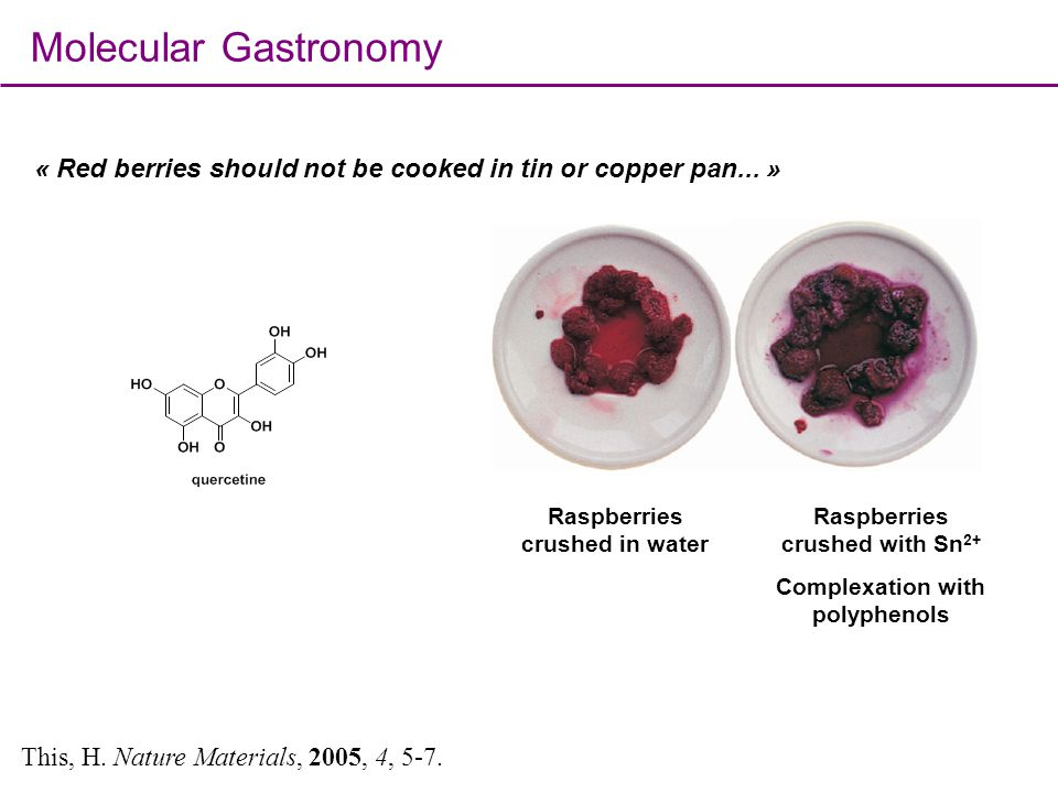 Molecular Gastronomy « Red berries should not be cooked in tin or copper pan... » Raspberries crushed in water.
