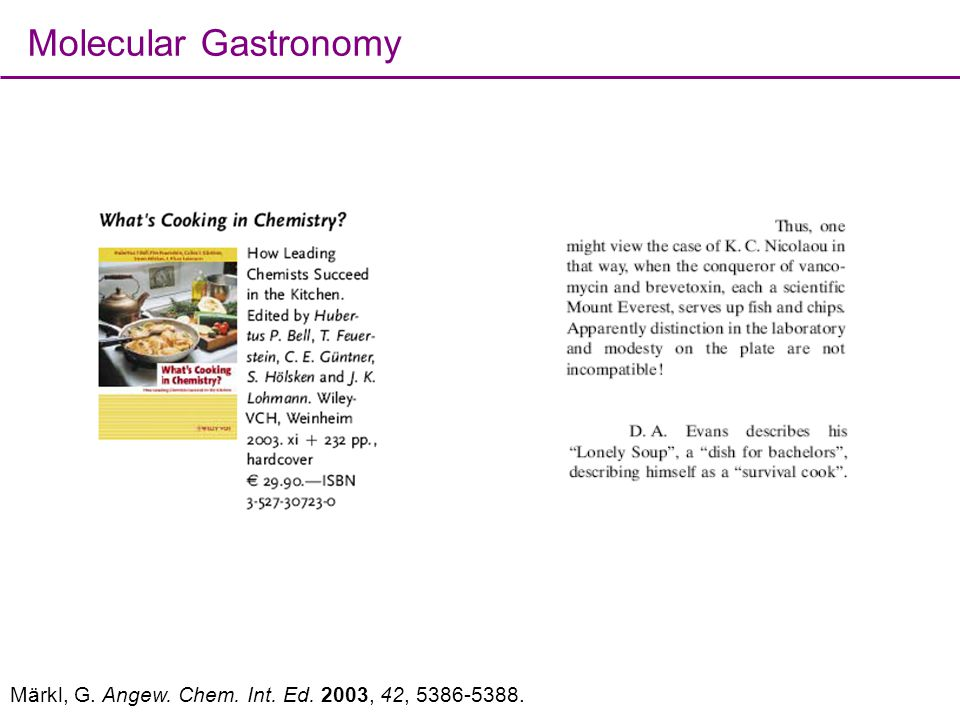 Molecular Gastronomy Märkl, G. Angew. Chem. Int. Ed. 2003, 42, 5386-5388.