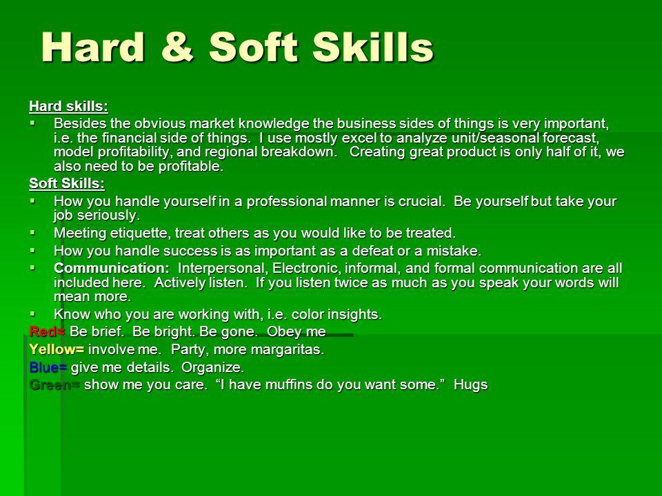 Hard & Soft Skills Hard skills: