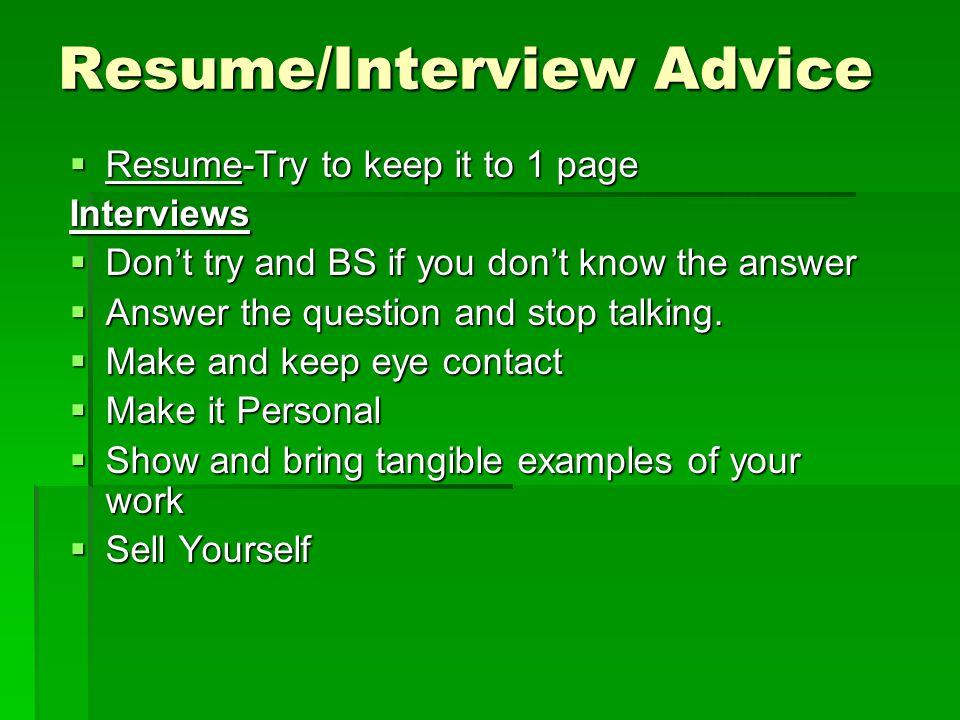 Resume/Interview Advice