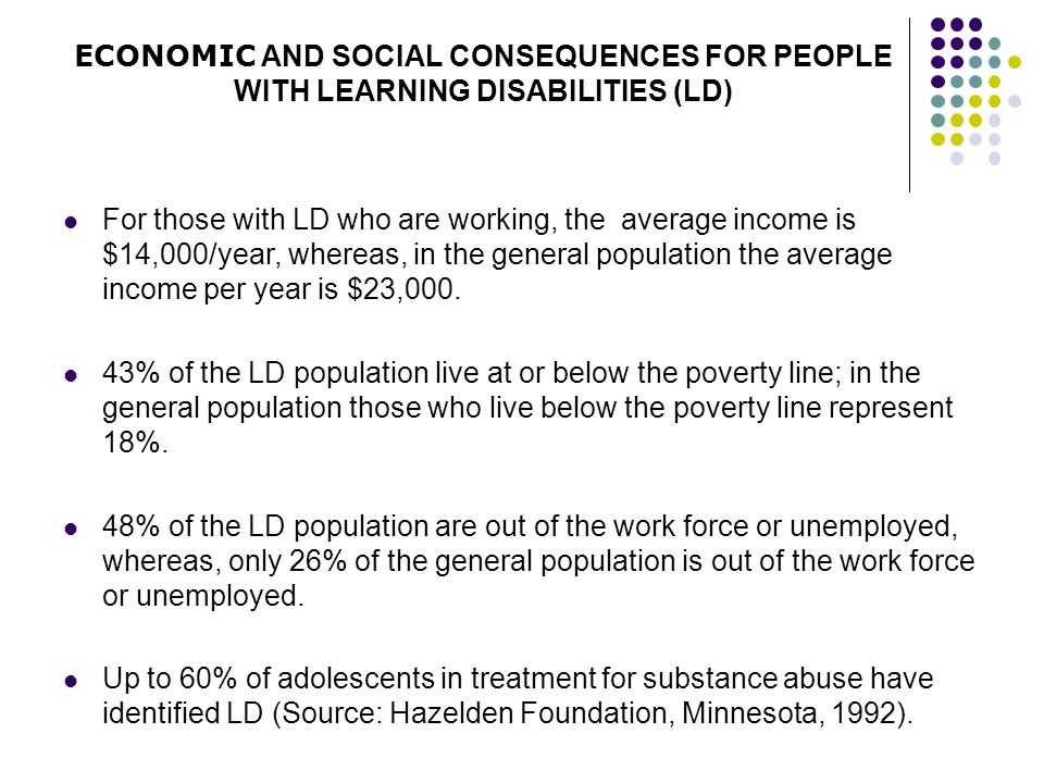 ECONOMIC AND SOCIAL CONSEQUENCES FOR PEOPLE WITH LEARNING DISABILITIES (LD)