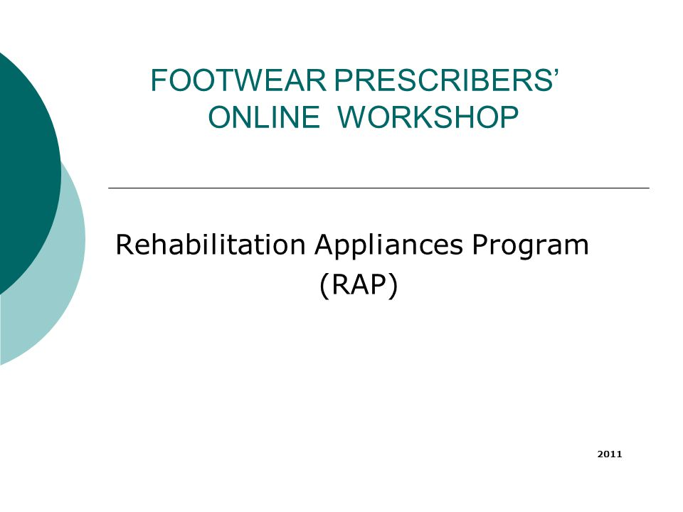 FOOTWEAR PRESCRIBERS' ONLINE WORKSHOP