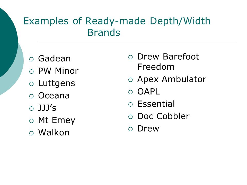 Examples of Ready-made Depth/Width Brands