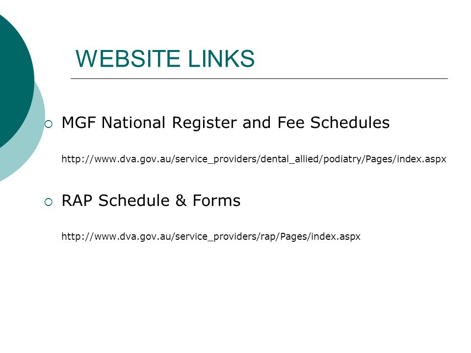 WEBSITE LINKS MGF National Register and Fee Schedules