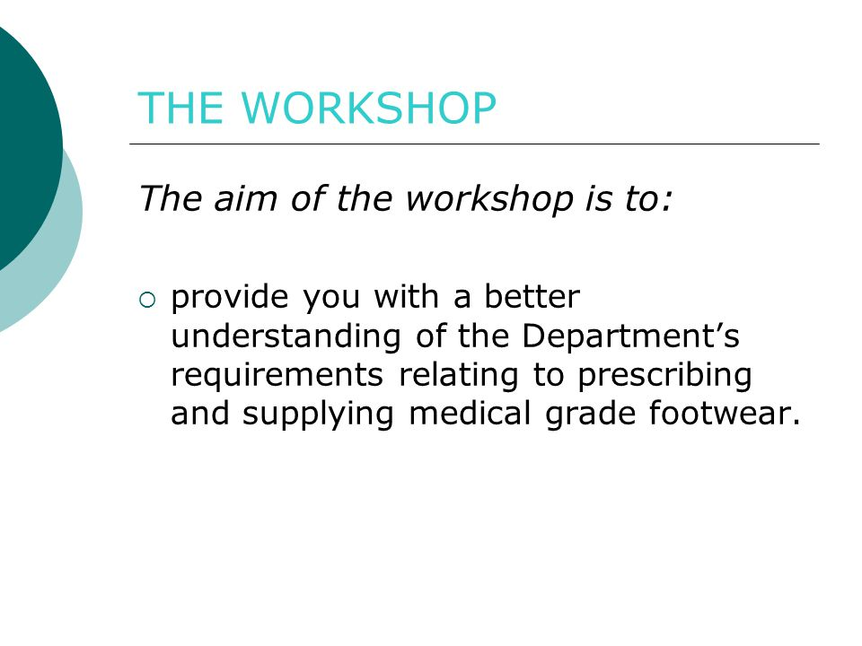 THE WORKSHOP The aim of the workshop is to: