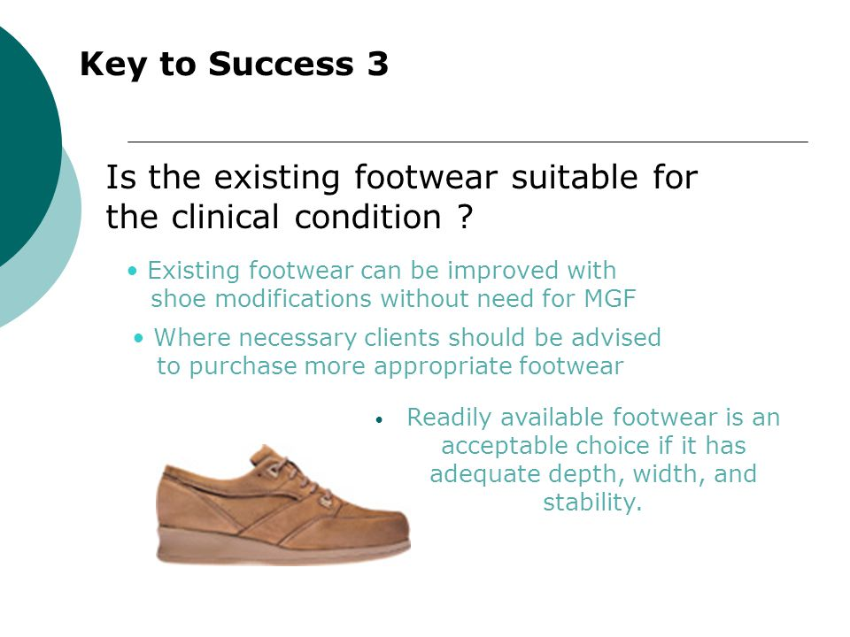 Is the existing footwear suitable for the clinical condition