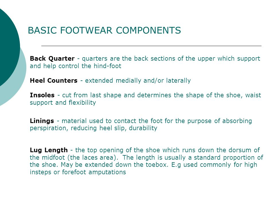 BASIC FOOTWEAR COMPONENTS