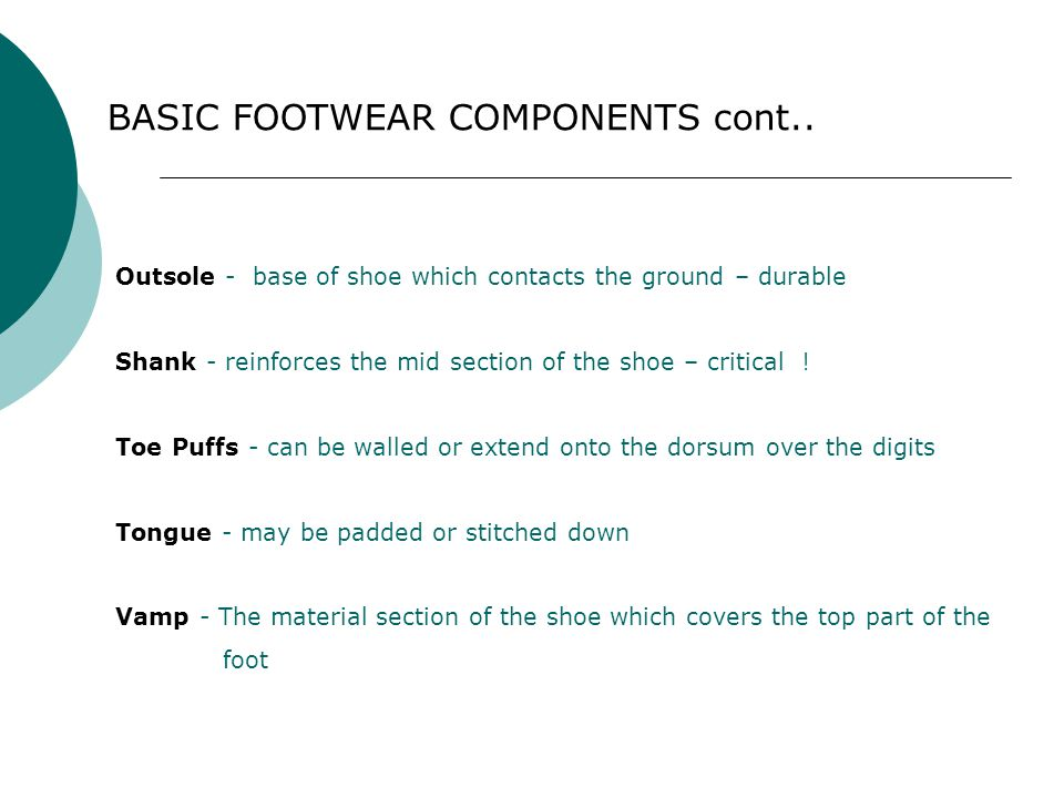 BASIC FOOTWEAR COMPONENTS cont..