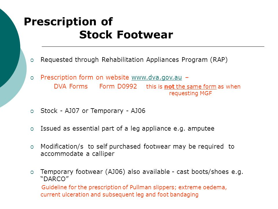 Prescription of Stock Footwear