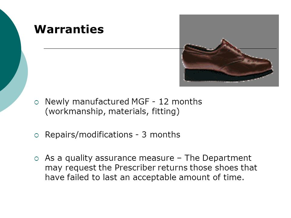 Warranties Newly manufactured MGF - 12 months (workmanship, materials, fitting) Repairs/modifications - 3 months.