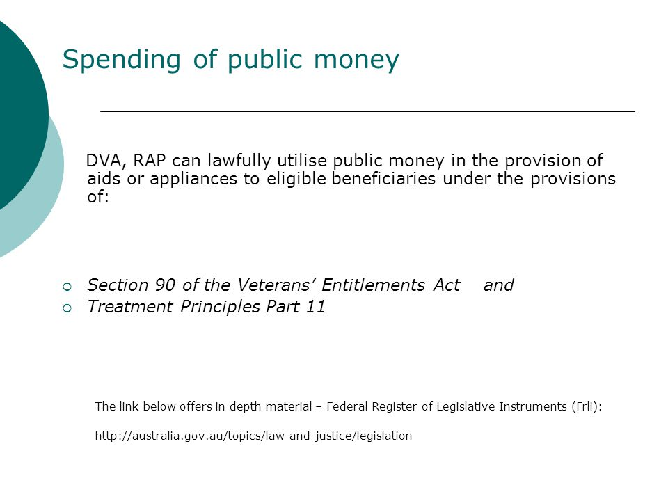 Spending of public money