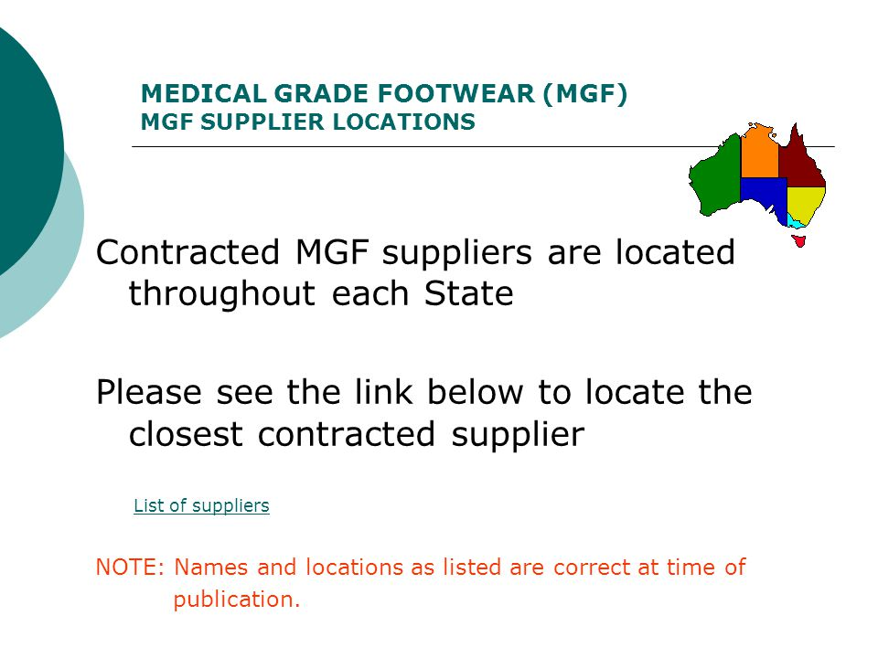 MEDICAL GRADE FOOTWEAR (MGF) MGF SUPPLIER LOCATIONS