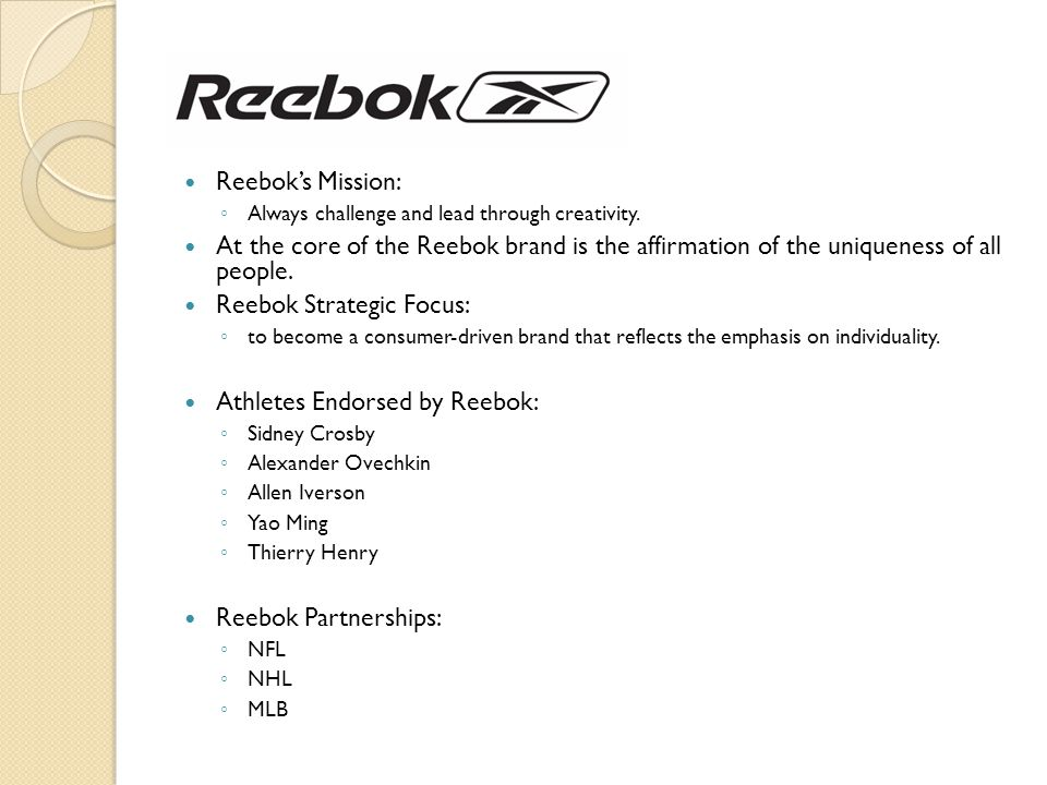 Reebok Strategic Focus: