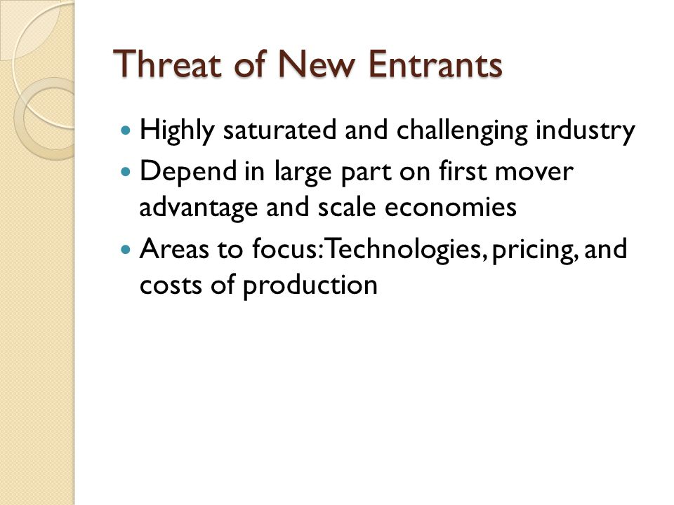 Threat of New Entrants Highly saturated and challenging industry