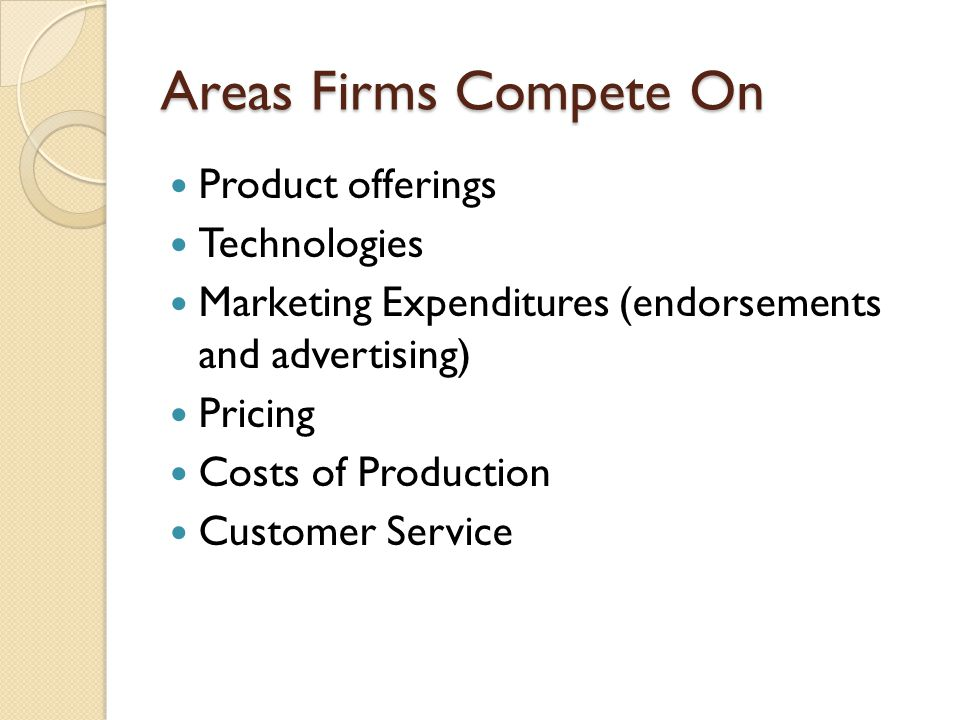 Areas Firms Compete On Product offerings Technologies