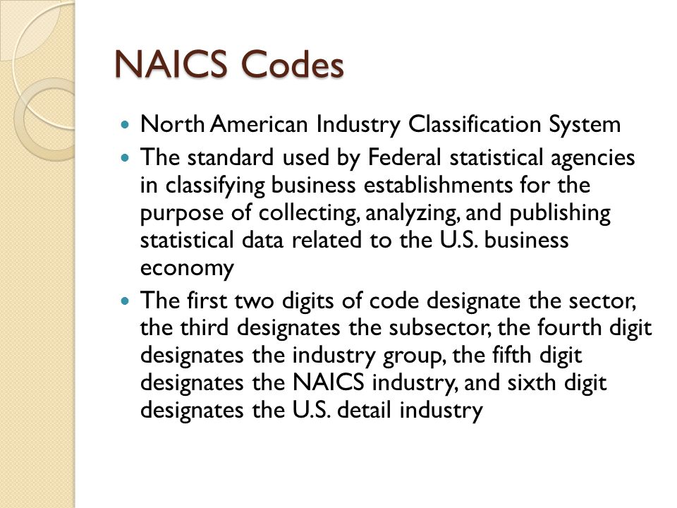 NAICS Codes North American Industry Classification System