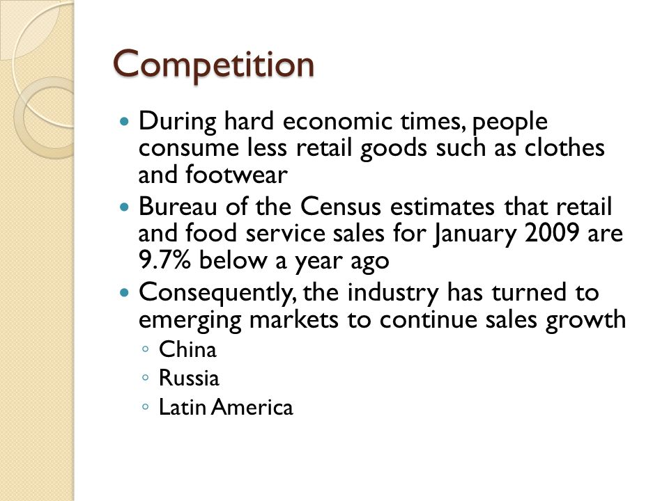 Competition During hard economic times, people consume less retail goods such as clothes and footwear.