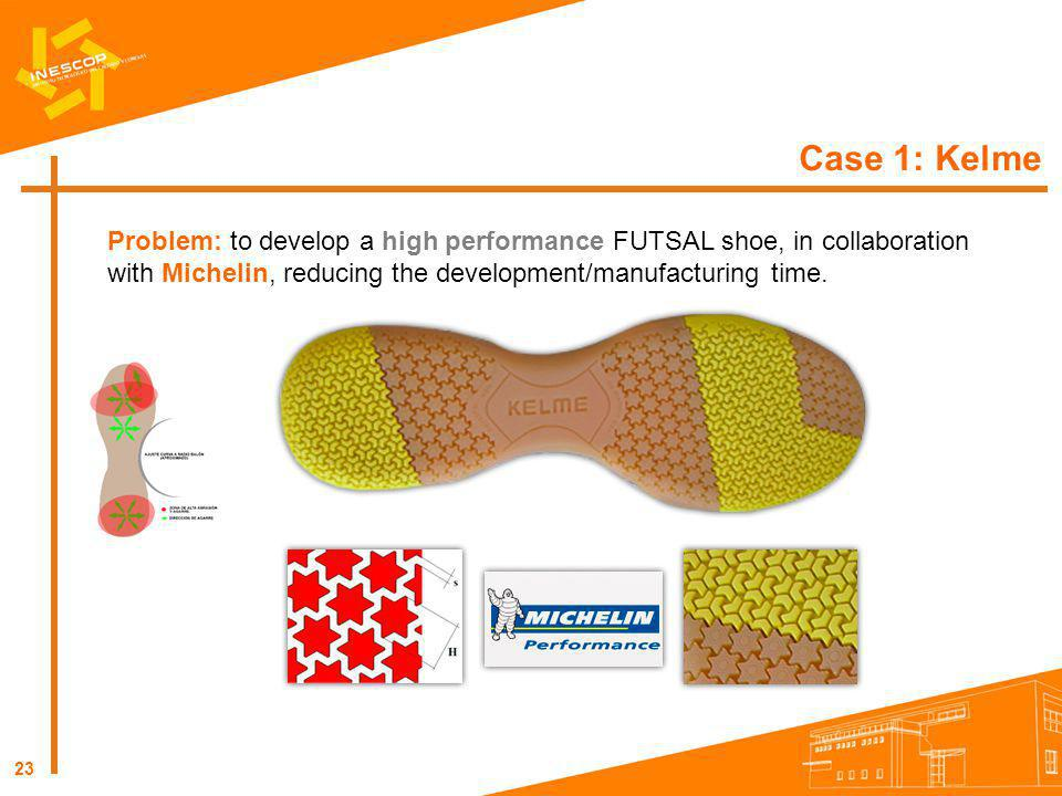 Case 1: Kelme Problem: to develop a high performance FUTSAL shoe, in collaboration with Michelin, reducing the development/manufacturing time.