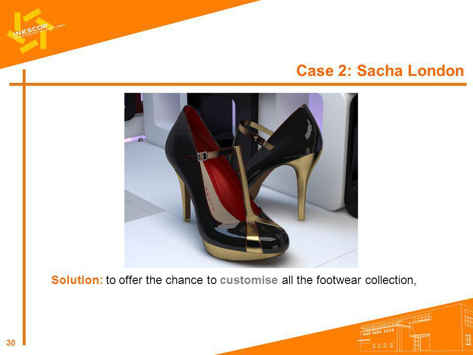 Case 2: Sacha London Solution: to offer the chance to customise all the footwear collection,
