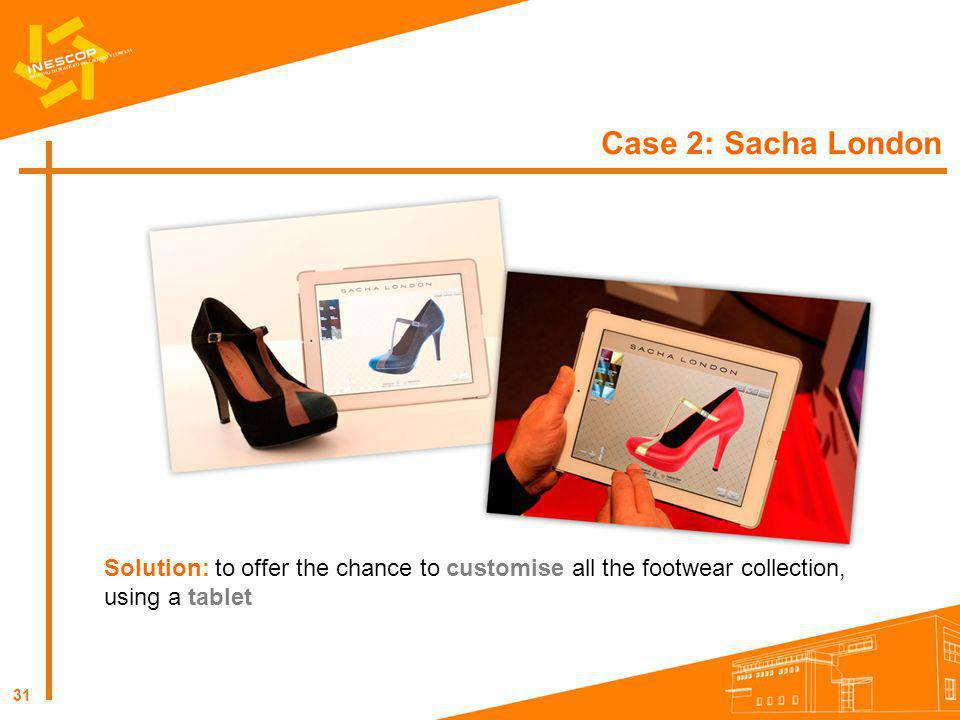 Case 2: Sacha London Solution: to offer the chance to customise all the footwear collection, using a tablet.
