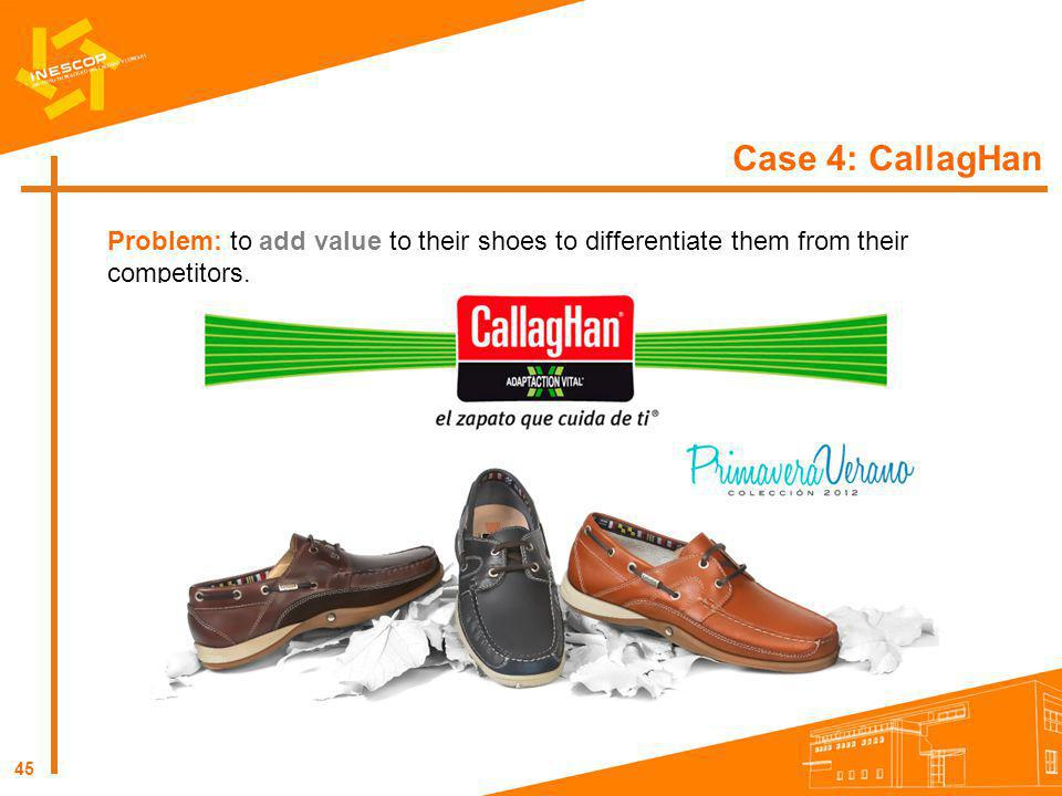 Case 4: CallagHan Problem: to add value to their shoes to differentiate them from their competitors.
